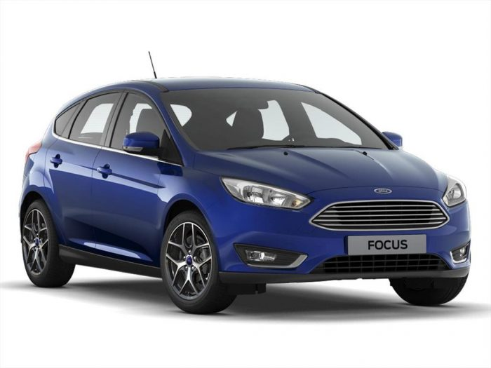 Ford Focus truck blue color sedan. Inside a white background scenario. Antenna is observed in the roof rear