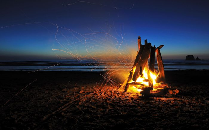 Fire lit on the shore of a beach at night