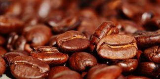 coffee beans on a white table