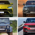 four different photos of four different cars the colors of the cars ar yellow black blue and red they all have different background