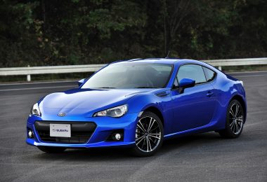 Scion FR-S car -Subaru BRZ electric blue color, parked diagonally on a road. Black wheels in the shape of a star
