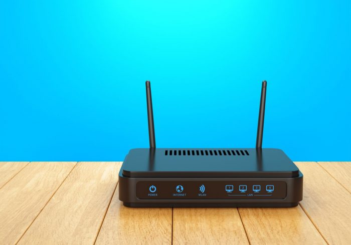 Movistar Router blue background wi-fi