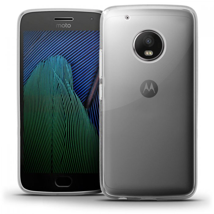 A Motorola Moto G 5 Plus phone. Of gray color. It is shown in front showing on the screen green and blue wavy stripes. The reverse is also observed