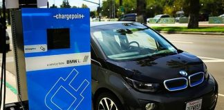 a BMW car charging the battery