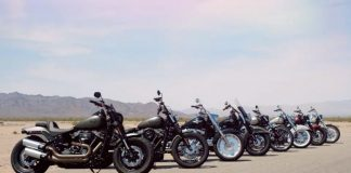 Several motorcycles aligned