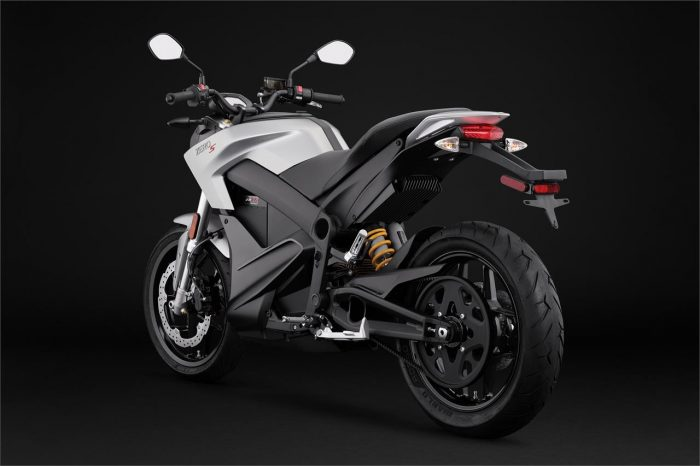 Moto 2018 Zero S ZF7.2, showing rear. Tank gray color