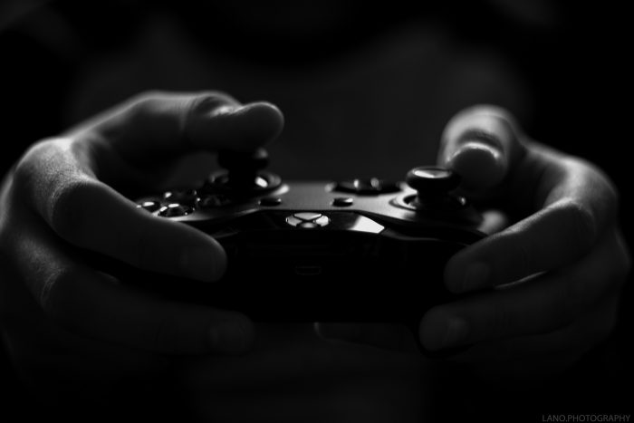 controler in black and white