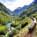 Train passing through a beautiful landscape