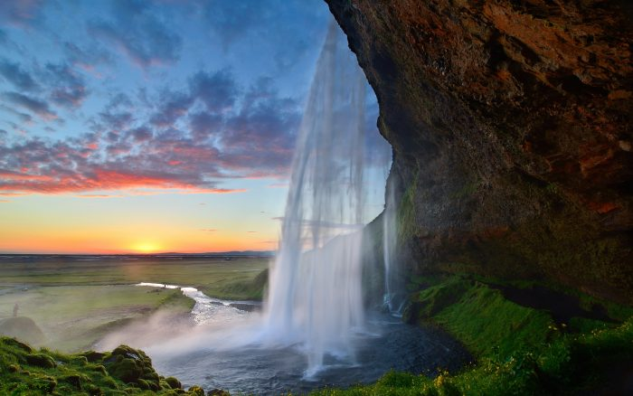 Iceland, Waterfall, Rocks